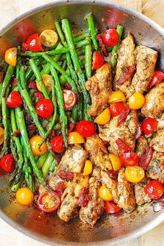 Paleo - One-Pan Pesto Chicken and Veggies – sun-dried tomatoes, asparagus, cherry tomatoes. Healthy, gluten free, Mediterranean diet recipe with basil pesto. It's The Best Selling Book For Getting Started With Paleo Think Food, Food For Thought, Healthy Dinner Recipes For Weight Loss, Healthy Weight, Healthy Meals For One, Healthy Protein Dinner Recipes, Healthy Organic Recipes, Healthy Quick Dinners, Heathy Lunch Ideas