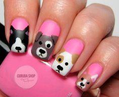 Pink Doggy Nails Nails Pink Nails Nail Art Nail Ideas Nail Art Nail Pictures Doggy Nails Source by b Nail Art Simple, Simple Nail Art Designs, Cute Nail Art, Cute Nails, Pretty Nails, Nail Designs For Kids, Dog Nail Art, Nail Art For Kids, Animal Nail Art