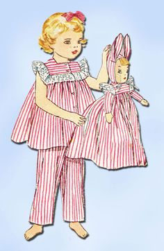 1950s Vintage Simplicity Sewing Pattern 4025 Toddler Girls Pjs & Doll Size 5