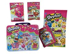 Shopkins Bundle - Tin with Who's The Super Shopper? Card Game, Stickers, Lip Balm and Strawberry Poppin' Crunch Candy