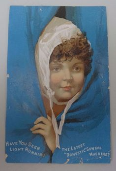 Antique Domestic Sewing Machine Trade Card A. SUNDQUIST TOULON ILLINOIS girl  #DomesticSewingMachine