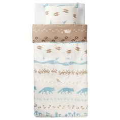 VANDRING SKOGSLIV Duvet cover and pillowcase(s) IKEA Cotton is soft and feels nice against your child's skin. Love Ikea bedding want to make a run for these! Boy Room, Kids Room, Cute Bedding, Girl Bedding, Ikea Bed, Childrens Beds, Photoshop, Affordable Furniture, Yurts