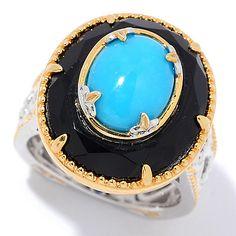150-415 - Gems en Vogue 10 x 8mm Sleeping Beauty Turquoise & Onyx Ring