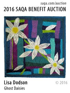 """Ghost Daisies"" - art quilt by Lisa Dodson"
