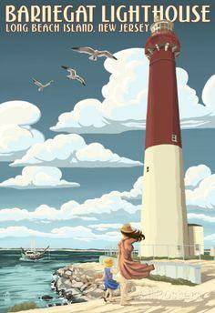 Barnegat Lighthouse - New Jersey Shore Poster bij AllPosters.nl