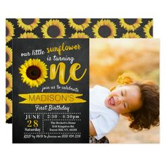 Little Sunflower Chalkboard 1st Birthday Photo Invitation - tap, personalize, buy right now! #Invitation  #1st #birthday #first #birthday #turning 1st Birthday Invitations Boy, Photo Invitations, Pink Invitations, Printable Invitations, Printables, Mickey Mouse 1st Birthday, 1st Birthday Girls, Flower Birthday, Summer Birthday