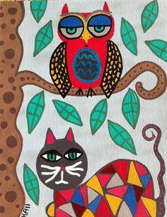 Kerri Ambrosino Mexican Folk Art PRINT Black Talavera Cat and Owl Friends Tree Blue Skies on Etsy, $20.00