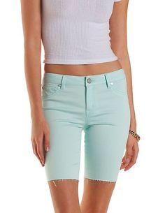 """Refuge """"Bermuda"""" Cut-Off Colored Denim Shorts: Charlotte Russe #denim #shorts"""