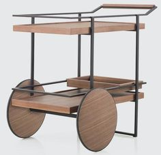 Wood and steel bar cart