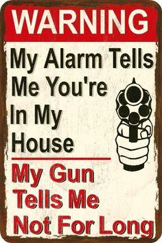 Funny Gun Sign- Alarm and Gun - Humorous - Metal or Plastic
