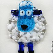 Gifts for the holidays handmade. Fair Masters - handmade sheep-Christmas Toy. Glass. Fusing .. Handmade.