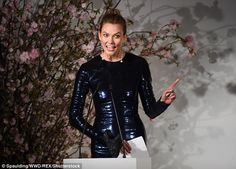 Role model: Karlie engaged with the audience members as she was being honored