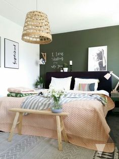home accents walls Scandinavian style bedroom with dark green wall. We examine the three key ways to go green with the new interior design trend for dark green walls. From Scandinavian style to gold and copper accents, to emerald green and monochrome. Green Rooms, Bedroom Green, Home Bedroom, Bedroom Decor, Master Bedroom, Bedroom Ideas, Bedrooms, Bedroom Designs, Olive Bedroom