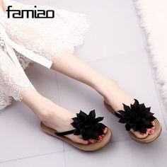 Women Sandals Fashion Flower Summer Sandals Flip Flops 2017 Slippers Shoes  slippers zapatillas summer flat shoes aa0f06689fc1