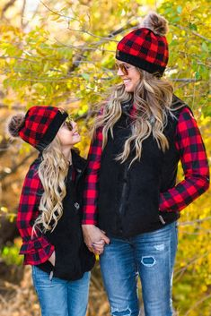 Mom & Me - SIP Plaid Beanies - Red   Sparkle In Pink Mother Daughter Pictures, Mother Daughter Matching Outfits, Mother Daughter Fashion, Mommy And Me Outfits, Mom Daughter, Little Girl Outfits, Cute Outfits, Picture Outfits, Boutique Clothing