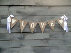 Items similar to Love Burlap Banner Glittered White with Ribbon Bows - Wedding Garland on Etsy Wedding Bows, Garland Wedding, Christmas Door Decorations, Diy Wedding Decorations, Burlap Crafts, Diy Crafts, Image Pinterest, Burlap Bunting, Homemade Crafts