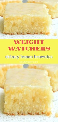 health dessert recipes under 100 calories Weight Watcher Skinny Lemon Brownies Desserts Pauvres En Calories, Low Calorie Desserts, Ww Desserts, Healthy Dessert Recipes, Healthy Lemon Desserts, Cookies Healthy, No Sugar Desserts, Healthy Snacks, Breakfast Recipes