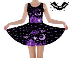 ☆ Spooky Bats ☆ Skater Dress ☆ Made To Order ✧ Creepy cute, Kawaii, Pastel Goth…