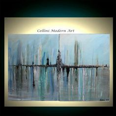 Original Abstract Painting Cityscape Art Palette Knife Raw  Abstract blues, tans, black, teals,greens. $274.00, via Etsy.
