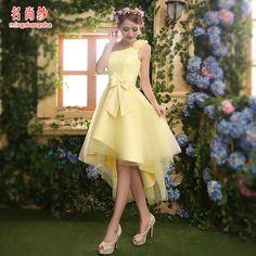 Barato 2015 chegam novas curto prom vestido amarelo para as mulheres elegante estilo de design de moda seis estilos para escolher frente vestido curto de volta longo, Compro Qualidade Vestidos de Baile de Estudantes diretamente de fornecedores da China:   Detalhes do produto