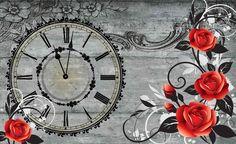 Carta da parati - Assi Legno Rose Orologio Vintage | EuroPosters.it