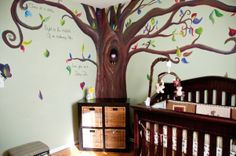 Neutral Forest Themed Nursery, We decided to wait to find out the sex of our baby until the birth, so we needed a neutral nursery. We knew we wanted a forest theme but the challenge was to make it welcoming for a boy or girl. Well, we had a boy! , the mural artist added amazing details to our nursery wall. Notice the owl in the tree? She even added our initials to the trunk!, Nurseries Design