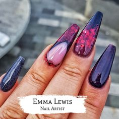 Coffin/Ballerina Black & Red Nails.  Find my nail designs on instagram @emmalewis_nailartist