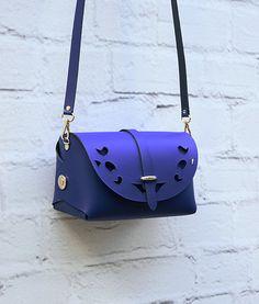 Large Leather Cutout Barrel Bag Blue Bag Handmade by ARTonomousgr