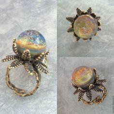 """Купить Кольцо серии """"Цветок папоротника"""" - кольцо, кольцо ручной работы, авторский лэмпворк"""