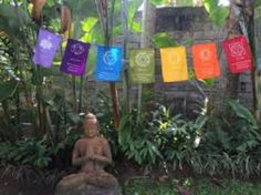 Finding the sacred in the everyday this beautiful peace flagged Buddha garden is inspiring   Love The Urban Goddess 💜  Empower Transform and Evolve 🌟 Peace Flag, Buddha Garden, Hippy Room, Meditation Garden, Buddhist Prayer, Prayer Flags, Colorful Garden, Chakra Stones, Prayers