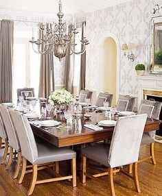silver and grey dining