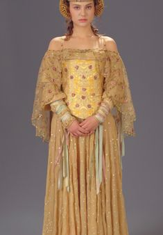 This embroidered dress and corset are worn by Padme Amidala in Star Wars Episode II. Personally my favorite of any of the costumes in the Star Wars films.--- this whole site is pretty cool Padme Costume, Costume Dress, Queen Amidala Costume, Movie Costumes, Cosplay Costumes, Cat Costumes, Deco Cinema, Disfraz Star Wars, Star Wars Padme