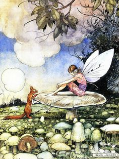 Pretty Fairy and Squirrel On Toadstool--Helen Jacobs