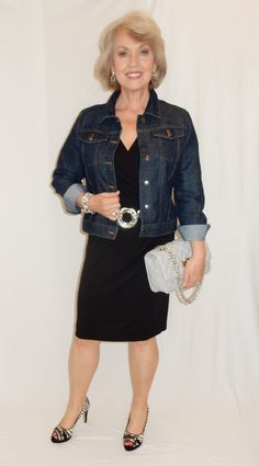Fifty, not Frumpy: The Versatile Jean Jacket. Here I paired the jacket with a V-neck black tank dress and heels.