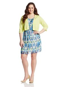 4265768bd5 AGB Women s Plus-Size Two Piece Set Cardigan with Fit and Flare Dress