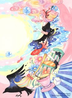 oguramayuko:  「魔女と金魚」(中島桃果子氏・著/幻冬舎2014) 文庫カバーイラストの原画  http://oguramayuko.com/