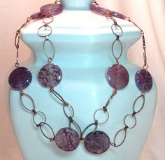 Marsala Faux Amethyst Lace Agate Disc Beaded Necklace with Copper Plated Brass Round and Marquise Chain and Hand Wired Clasp