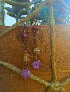 Raw Amethyst Point Crystal Earrings by SaracenProvisions on Etsy