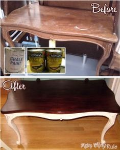Thrift Store Table Transformed with Annie Sloan Chalk Paint & Minwax PolyShades. Imagine what you can do with thrift store furniture! Refurbished Furniture, Paint Furniture, Repurposed Furniture, Furniture Projects, Furniture Making, Furniture Makeover, Furniture Refinishing, Antique Furniture, Refurbished Coffee Tables