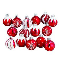 This 1.57-Inch Red/White Decorated Glass Ball Ornament set of 15 by Kurt Adler is a beautiful and festive addition to any Christmas tree! Each of the 1.57-inch glass balls features a festive red and white candy-cane inspired design in varying styles like polka dots, jagged lines, and swirls.