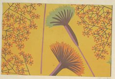 Drawing, 1923-1932 | Blossoms in orange and teal, orange berries on gold ground | Designed by Felice Rix-Ueno for Wiener Werkstätte | Brush and gouache on paper | Cooper-Hewitt
