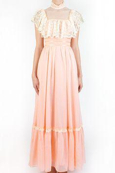 prairie-style vintage 70's dress...prom dress and bridesmaid dress