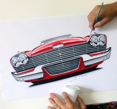 "Did you survive Friday the ""Christine"": the iconic 1958 Plymouth Fury from Steven King's book. Car Design Sketch, Car Sketch, Car Drawing Pencil, Happy Friday The 13th, Car Tattoos, Plymouth Fury, King Book, Car Illustration, Automotive Design"