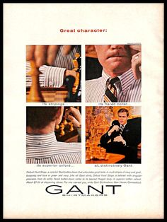 6b1c0b9171aacc 1966 Gant Shirtmakers  Vintage  PRINT  AD Men s  Fashion  Striped  Shirt