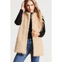 Forever21 Faux Fur Vest ($17) ❤ liked on Polyvore featuring outerwear, vests, beige, forever 21, fake fur vest, faux fur waistcoat, open front vest and faux fur vest