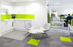 Breakout area. Tea Point at Verisk Maplecroft office designed byinterior design and build experts: Interaction, UK
