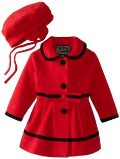 dc55a4d7a4a4 Rothschild Baby-Girls Infant Faux Wool Velvet Trim and Bows, Scarlet Red, 24  Months, Velveteen bow dress coat,