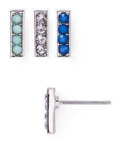 Aqua Lexi Stud Earrings, Set of 3