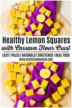 Looking for the best lemon bars recipe? How about trying these classic Healthy Lemon Squares with Cassava Flour Crust? These luscious lemon squares are the perfect dessert theyre so easy to make too! Simple instructions for how to cut them included. Gluten Free Treats, Gluten Free Desserts, Paleo Treats, Healthy Desserts, Easy No Bake Desserts, Lemon Desserts, Cobbler, Fudge, Lemon Squares Recipe