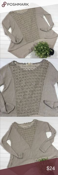 Urban Outfitters Lightweight Textured Sweater This is just a gorgeous sweater! Beautiful taupe color which compliments anyone 20 in long in front, 4 in longer in back 40 in around at armpits Loose fit so could prob also fit size large Highlight of this sweater is the textured V insert at front and back.  Just stunning! Nice lightweight knit fabric  Excellent condition Smoke/Pet Free Freshly washed I purchased this at Urban Outfitters-Staring at Stars label I ship the next business day 99% of…